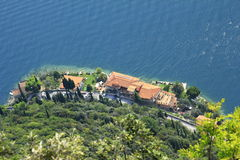View on lake Garda. And the West Coast Road Gardesana occidentale from a vantage point from Royalty Free Stock Photos