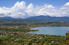 View on the lake Garda and the Alpes. Royalty Free Stock Photos