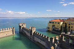 View on Lake Garda and ancient fortification. Stock Photos