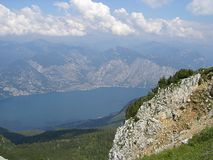View of lake garda from baldo crest Stock Photo