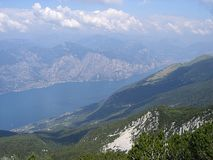 View of lake garda from baldo crest Royalty Free Stock Photography
