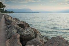 View of lake garda from Desenzano, Brescia, Italy, captured in t Stock Photo