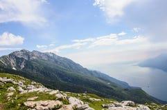View of Lake Garda from Italian Alps - Monte Baldo Stock Photo