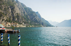 View of Lake Garda from Limone sul Garda town Stock Images