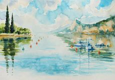 Garda Lake watercolors painted. royalty free stock photos