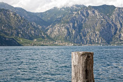 A view of lake garda from pier in Malcesine, italy Stock Images