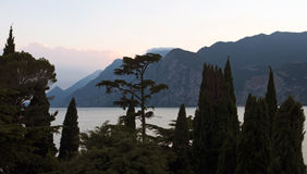 View of lake garda at sunset Stock Images