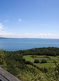 View on the lake Garda and  vineyards. View on the lake Garda and Italian vineyards and gardens Stock Images