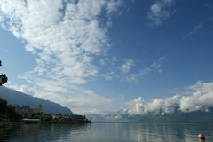 View of Lake Geneva and the Alps Royalty Free Stock Photo