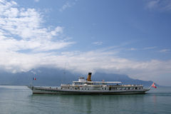 View of Lake Geneva and the Alps Royalty Free Stock Image