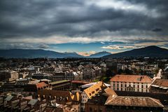 View from the Cathedral Saint-Pierre towards the Swiss Alps stock photos
