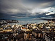 View of Lake Geneva from the Cathedral Saint-Pierre royalty free stock photo