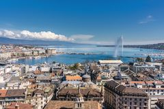 View of Lake Geneva from the Cathedral Saint-Pierre royalty free stock image
