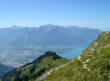 View of Lake of Geneva and Villereuse Royalty Free Stock Photography