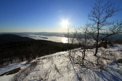 View of Lake George, NY in winter from Mountain Top Stock Image