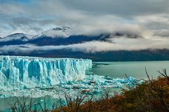 A view of the lake and glacier Perito Moreno national park Los Glaciares. The Argentine Patagonia in Autumn. stock photography