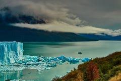 A view of the lake and glacier Perito Moreno national park Los Glaciares. The Argentine Patagonia in Autumn. A view of the lake and glacier Perito Moreno royalty free stock photo