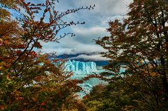 A view of the lake and glacier Perito Moreno national park Los Glaciares. The Argentine Patagonia in Autumn. royalty free stock image
