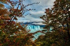 A view of the lake and glacier Perito Moreno national park Los Glaciares. The Argentine Patagonia in Autumn. A view of the lake and glacier Perito Moreno royalty free stock image