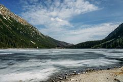 view of lake with ice on surface and mountains on background, Morskie Oko, Sea Eye, Tatra National royalty free stock image