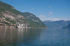 View of Lake Iseo from the city of lovere. Italy stock images