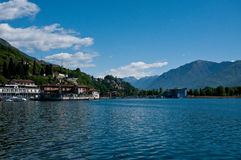 View of Lake Iseo from the city of lovere. Italy stock photography