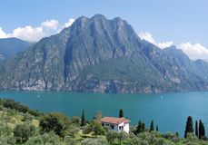 View of Lake Iseo in the summer. View of Lake Iseo from Castro, Bergamo - Italy Royalty Free Stock Image