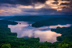 View of Lake Jocassee at sunset, from Jumping Off Rock, North Ca Royalty Free Stock Photography