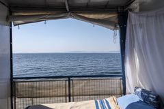 View of Lake Kariba from the room of a simple cruise.