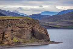 View on the lake Kleifarvatn and black volcanic beach in Iceland Royalty Free Stock Photography