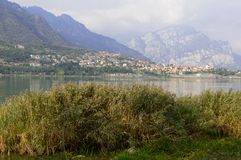 View of on the lake. Landscape of the lake of Annone province of Lecco Italy, September 2013 Stock Photography