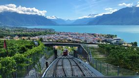 View of the lake Leman and the funicular Vevey-Mont-Pélerin royalty free stock photos