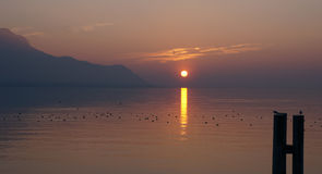 View of the lake leman in Montreux Stock Images