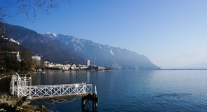 View of the lake leman in Montreux Stock Photo