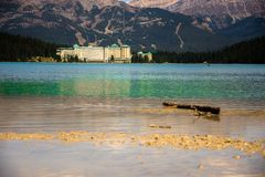 View of the Lake Louise and Fairmont Chateau Hotel in the Rocky Mountains stock image