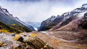 View of Lake Louise and Fairview Mountain on the right from the Trail to the Plain of Six Glaciers Royalty Free Stock Image