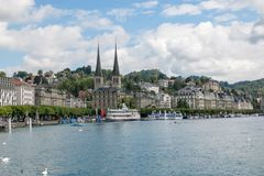 View on lake Lucerne, mountains and city Lucerne, Switzerland, Europe. Lucerne, Switzerland - July 3, 2017: View on lake Lucerne, mountains and city Lucerne stock photo