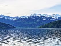A view of the lake Lucerne or Vierwaldstaetersee and Swiss Alps from the Vitznau settlement. Canton of Lucerne, Switzerland stock photography