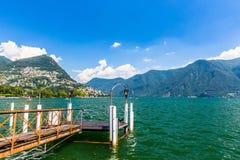 View of Lake Lugano Stock Photo