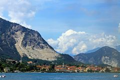 View of lake Maggiore in Italy stock photo