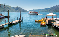 View of Lake Maggiore with Passenger ship and  Boat Rentals from pier of Ascona. Stock Photo