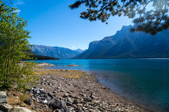 View of Lake Minnewanka in the Rockies royalty free stock photos