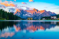 View of lake Misurina at Cortina d`Ampezzo in the morning. In Italy with the Punta Sorapis mountain of Dolomites in the background Royalty Free Stock Photography