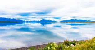 View of the lake and mountain landscape, Puerto Natales, Chile. Copy space for text royalty free stock image