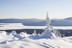 View of the lake from mountain range Zyuratkul, winter. Snow cov Royalty Free Stock Photo