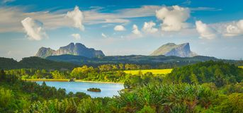 View of a lake and mountains. Mauritius. Panorama. Beautiful landscape. View of a lake and mountains. Mauritius island. Panorama stock photo