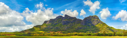View of a lake and mountains. Mauritius. Panorama Stock Photos