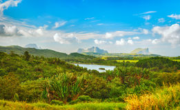 View of a lake and mountains. Mauritius. Panorama Stock Image