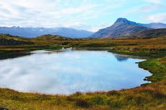 View of a lake and a mountains, Iceland. royalty free stock photography