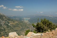 View on the lake near Lasithi Plateau. And there are no people in this image stock photography